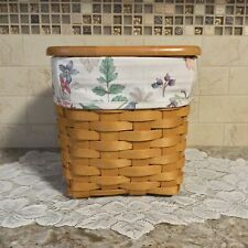 New ListingLongaberger 1998 Tall Tissue Basket Combo ~ Wood Lid ~ & Liner ~ Maple ~ Signed
