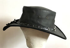 MEN WOMEN BARMAH OUTBACK CROCODILE LEATHER HAT WATERPROOF SIZE SMALL BLACK