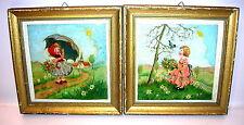 2 antike Ölgemälde Blumenkinder K.Hanisch 1955 Öl auf Platte