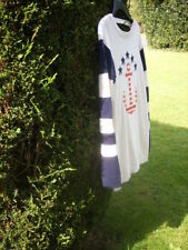 CREAM NAUTICAL-LOOK LONG JUMPER WITH RED ANCHOR & NAVY STARS AND STRIPES Medium+