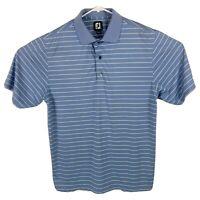 Footjoy FJ Men's Size Medium M Golf Polo Short Sleeve Shirt Striped Blue