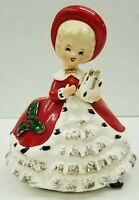 Vintage Christmas Girl Carrying Gift Inarco Japan Planter Figurine 1950's Red