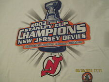 2003 New Jersey Devils Stanley Cup Championship Tee Shirt, Short Sleeve, White