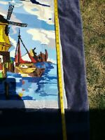 VINTAGE EMBROIDERY NEEDLEPOINT TAPESTRIES ANTIQUE ART DECO EUROPE WINDMILL