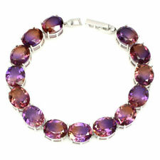 Sterling Silver Huge Genuine Natural Round Faceted Ametrine Bracelet 7 1/2 Inch