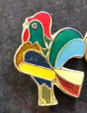 Enamel Gold Tone Rooster Tie Tack Lapel Pin (JN106) Rainbow