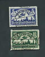 Danzig (Germany) 1923 Michel 116 +117 USED VF-XF CV 300 Euros Cat Lot gestempelt
