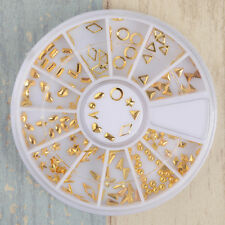 3D Nail Art Gold Circle Triangle Diamond Shape Design Charms DIY Manicure Tips