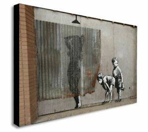 BANKSY Lady Shower Peeping Tom canvas wall art Wood Framed Ready to Hang XXL