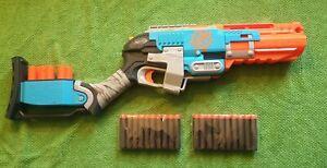 NERF Zombie Strike Sledgefire. 3 Original Cartridges + 20 New 3rd Party Darts