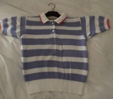 Country Road Vintage Purple and White Block Stripe short sleeve knit Womens 8