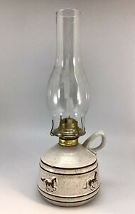 Onion River Pottery Speckled Glaze Horse Stallion Oil Lamp Vermont