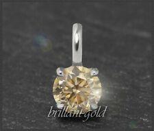 Diamant Solitär Damen Anhänger 585 Gold; Brillant 0,53ct, zart champagner; VVS