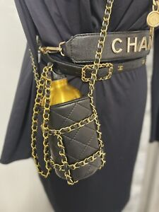 CHANEL GOLD CHAIN BELT QUILTED BOTTLE WAIST FANNY PACK BLACK POUCH SHOULDER TOTE