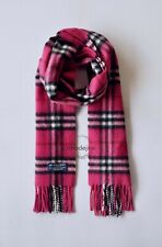 Authentic BNWOT BURBERRY Check Cashmere/Lambswool Womens Scarf IN Fuchsia Pink