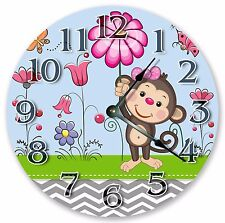 "10.5"" CUTE GIRLY MONKEY KIDS CLOCK Large 10.5"" Wall Clock Home Décor Clock- 3100"
