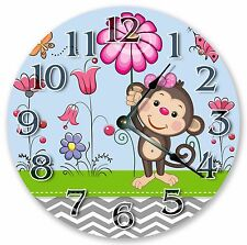 "10.5"" CUTE GIRLY MONKEY KIDS CLOCK Large 10.5"" Wall Clock Home Décor Clock- 3100"