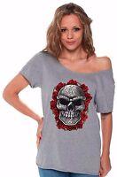 Roses Sugar Skull Halloween Day Of Dead De Los Muertos Off Shoulder Top T-shirt
