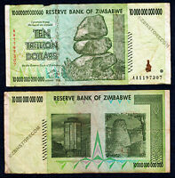 10 Trillion Zimbabwe Dollars Bank Note AA 2008 ~ RARE ~ 100 & 50 Trillion Series