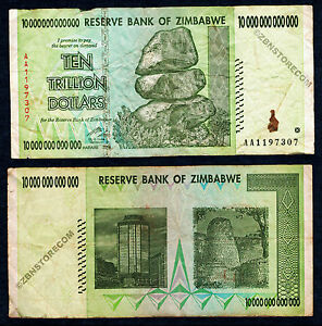 10 Trillion Zimbabwe Dollars Bank Note AA 2008 Currency ~ RARE ~ Authentic