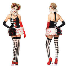 Harley Quinn Circus Clown Dress w/Neck Collar Women Costume fo Halloween Cosplay