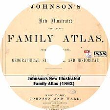 1862 Johnson's New Illustrated Family Atlas - World & Usa Maps on Dvd
