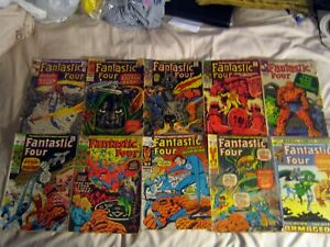 10 COLLECTABLE MARVEL SILVER & BRONZE AGE FANTASTIC FOUR COMPLETE COMIC BOOKS