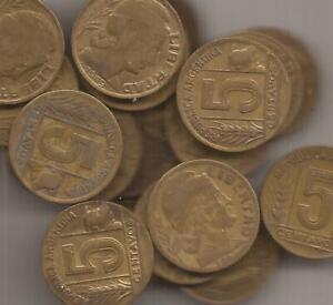 ARGENTINA lote de 25 monedas DE 5 CENTAVOS KM 40 1943-50