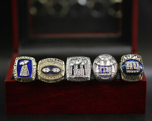 Set of 5 New York Giants Rings Giants Championship Rings Display Set with Box