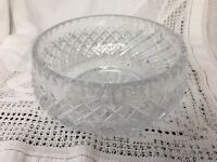 "STUNNING HEAVY CUT GLASS BOWL  Fruit Salad Trifle Desserts 7"" Dia. 3.25"" TALL"