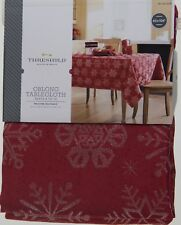 Christmas Threshold Red Jacquard with Snowflakes 60x104 Oblong Tablecloth NWT