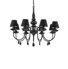 IDEAL LUX BLANCHE SP8 NERO, lampadario da salotto o camera da letto moderno