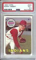 Sonny Siebert 1969 Topps Vintage Baseball Card Graded PSA 5.5 EX+ Indians #455