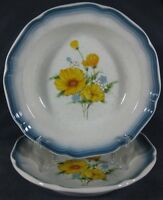 Mikasa CA503 Amy Rimmed Soup Cereal Bowls Lot of 2 Country Club Yellow Floral