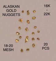 Natural Alaskan Gold Nugget Lot (20) Pcs Authentic •18-20 Mesh• @16K-22K@$