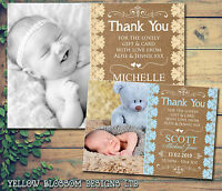 10 Vintage New Baby Born Announcement Thank You Cards Birth Details Boy Girl