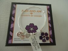 Alex and Ani FORGET ME NOT Bangle Bracelet Shiny Silver New W/ Tag Card & Box