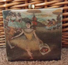 Vintage Silk Dancer Print Framed Kiss-Lock Coin Purse Wallet Italy Strawbridge