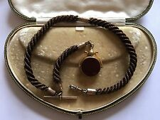 Victorian Antique Yellow Gold Hair Work Necklace Albert Chain Swivel Fob Blood