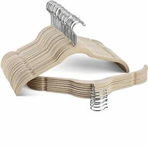 Ivory Space-Saving Velvet Shirt Hangers Nonslip with 360°-Swivel Hook Set of 50