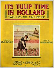 It's Tulip Time In Holland 1915 Pretty Girl Dutch Vintage Sheet Music ~Windmills