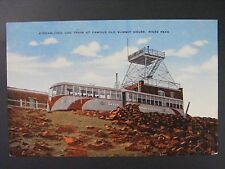 Streamlined COG Train Summit House Pikes Peak Colorado Vtg Linen Postcard 1930s