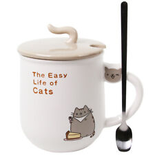 Ceramic Cute Cat Design Coffee Mug Cup Lid with Spoon 13oz Cute Christmas gift