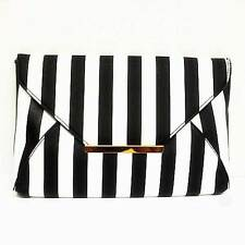 GORGEOUS BLACK AND WHITE STRIPE ENVELOPE CLUTCH HANDBAG