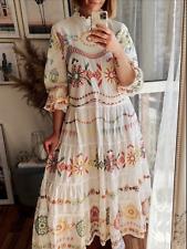 BNWT Zara Oyster White Embroidered Poplin Maxi Dress