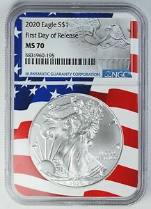 2020 NGC MS 70 United States / American Eagle 1 oz Silver .999 Coin