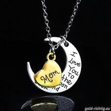 Mond+Herz Halskette: I love you (Ich liebe dich Mama Kette) Geschenk Geburtstag