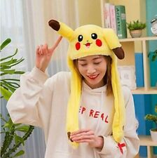Pikachu Hat Ear Moving Cosplay Costumes Accessories Cute Soft Plush Toy Gift