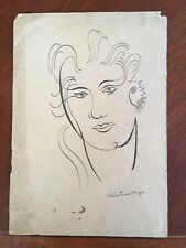 Old Original Pen Ink Drawing Portrait Signed Valentine Hugo Surrealism c. 1950