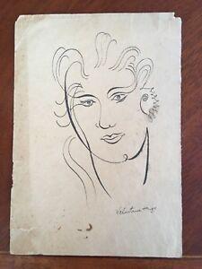 Original Old Pen Ink Drawing Portrait Signed Valentine Hugo Surrealism c. 1950